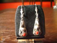 bezaubernd florale Art Deco Ohrringe Hänger 900er Silber rote Koralle Handarbeit