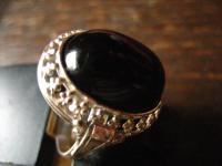 super toller Art Deco Designer Ring Onyx reich verziert 835er Silber 18, 5 mm