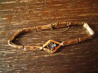 traumhaft schönes Jugendstil Armband rotgold Glücksbringer Kleeblatt 20 cm lang
