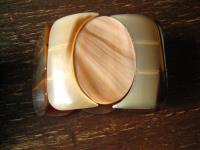 ausgefallener 6, 5 cm breiter Vintage Armreif echtes Horn Ethno Stil Handarbeit