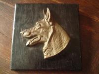deutscher Schäferhund Bronze Plakette auf Holz Bild antike Trophäe Hundekopf