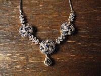 Kronjuwelen gesucht ? sehr edles saphir blau diamant Collier 925er Silber