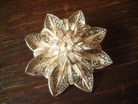 antike große Stern Blüten Brosche 835er Silber feinste Filigranarbeit Handarbeit