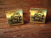 maritime Vintage Manschettenknöpfe Segelschiff Dreimaster gold Segeln Schiff