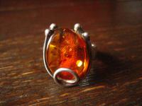geschmackvoller Bernstein Ring 925er Silber toller Schliff 18, 5 mm RG 58, 5