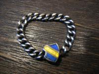 interessanter Studentika Ring Kettenring blau gelb blau 800er Silber Emaille
