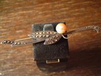 elegante Jugendstil Krawattennadel Stabnadel Brosche Markasit Perle 935er Silber