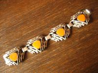 starkes Vintage Designer Armband Emaille gelb original 70er Jahre Skandinavien