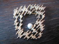 elegante ausgefallene Vintage Modeschmuck Brosche Gold Perle 60er Jahre