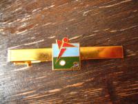 vintage Sport Krawattennadel Krawattenklemme Fussball Soccer Emaille gold ausgefallen