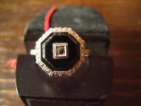 hauchzarter Art Deco Ring 8eck eingeschliffener Onyx 835er Silber RG 58 18, 5 mm