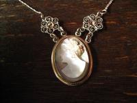 wunderschönes Jugendstil Collier 800er Silber Kamee Cameo Gemme Dame Filigran