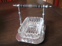 originelle antike Menage Pressglas Schälchen im Halter Ständer Marmelade Sahne
