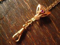 überlange Jugendstil Schieberkette DAU Uhrenkette 144 cm rubin Schieber Rotgold