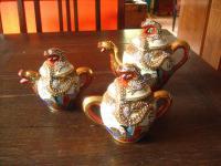 opulentes Teeservice Teekanne Milch Zucker Japan Satsuma vintage Drachen Service