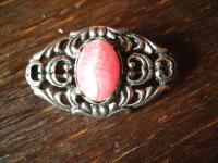 florale vintage Trachtenschmuck Brosche mit rosa Rhodochrosit 835er Silber