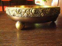 prächtiger antiker Tafelaufsatz mit Rosen Verzierung und Glas Schale vergoldet