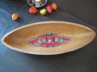 prächtige Arts & Crafts Schale Holz Vögel + Intarsien Handarbeit ausgefallen