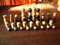 ausgefallene vintage Schachfiguren Taguanuss Tagua-Nuss geschnitzt Arts & Crafts