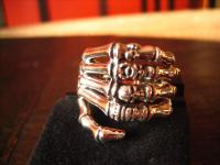 exklusiver schwerer Ring Skelett Hand et Nox Gothic deluxe 925er Silber RG 62