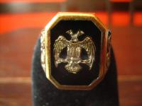 prächtiger Herrenring Adler Wappen reich verziert 925er Silber gold G 65 20, 5 mm