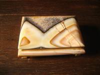 wunderschöne Marmor Schatulle Schmuckkästchen auf Füssen Innenspiegel sehr edel