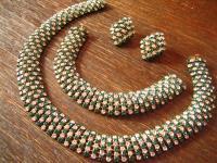 Art Deco Strass Parure Schmuckset Collier de Chien Armband Ohrringe Alt Gablonz