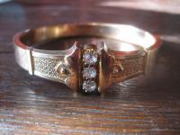 prächtiger Jugendstil rotgold Armreif mit Kristall Steinen elegant verziert