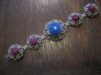 reich verziertes vintage Trachten Armband Medallion Blüte Rarität silber 1950