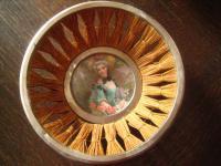 Rarität ! antikes Brotkörbchen Körbchen mit Miniatur Bild junge Dame mit Hut