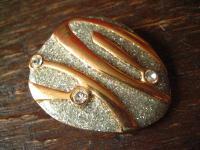 prächtiger vintage Schalhalter Tuchhalter Scarf holder gold mit Strass Steinen