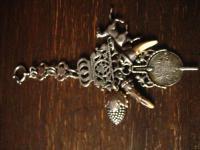 Trachten Chatelaine Charivari 800er Silber 5 Anhänger Uhrenschlüssel Wappen