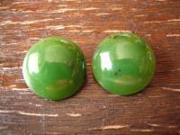 zeitlose große schöne Ohrringe Clips Ohrclips echte grüne Jade 835er Silber rund