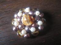 dekorative 50er Jahre Vintage Brosche böhmisches Glas Pâte de Verre Perlen