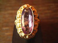 prächtiger antiker Goldschmiede 750er Gold Amethyst Ring Handarbeit traumhaft