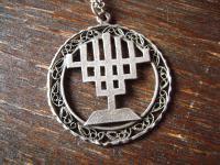 Judaica Israel großer Menora Menorah Anhänger 7armiger Leuchter 925er Silber