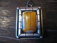 Art Deco 835er Silber Bernstein Honigbernstein Butterscotch Amber Anhänger
