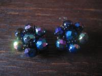 extravagante Vintage Ohrringe Clips Ohrclips Aurora Borealis böhmisches Glas