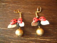 Traumhafte Designer Statement Ohrringe Ladybird Marienkäfer Unikat Arts & Crafts