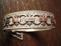 prächtiger Jugendstil Armreif Mäander Band Verzierung 800er Silber 15 mm breit
