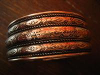 prächtiger sehr breiter Art Deco Armreif Armspange silber florale Bordüren 3 cm