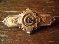 prächtige reich verzierte original Biedermeier 800er Silber rotgold Brosche 1850