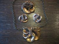 vintage Designer Schmuckset Finnland Bronze Ohrringe Clips Brosche Collier 4 tlg