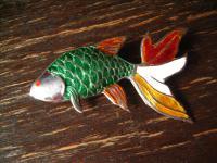 traumhafte Vintage Fisch Brosche Koi Karpfen Schleierfisch 925er Silber Emaille