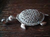 traumhafter riesiger Schildkröten Anhänger Schildkröte 925er Silber Markasit