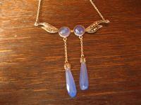 zauberhaftes zartes Jugendstil Collier 800er Silber blaue Pampeln Markasit