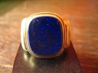 sehr eleganter Siegelring Herrenring Ring 585er Gold Lapislazuli 18 mm RG 57