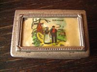antikes Souvenir Mitbringsel Hülle für Streichholzschachtel Miniaturmalerei