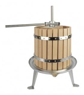 Obstpresse Fruchtpresse mit CNS Bodenplatte und Spindel 12 Liter Eichenholz