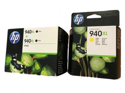 HP 940XL ORIGINAL OFFICEJET 8000 8500A PRO TINTE PATRONEN SET 2x Schwarz 1x Gelb